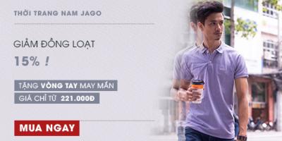 Thời trang nam JAGO giảm đồng loạt 15%, chỉ từ 221.000đ kèm quà tặng !