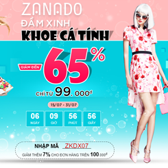Tặng mã giảm 7% khi mua hàng trên website Zanado.com